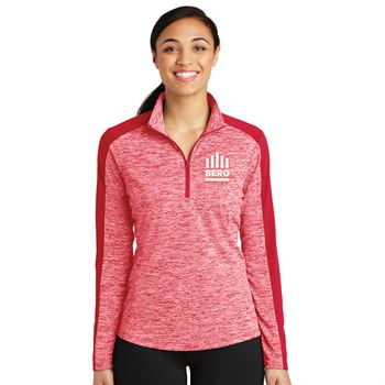 Sport-Tek® Women's PosiCharge® Electric Heather Colorblock Quarter-Zip Pullover - Embroidery Personalization Available