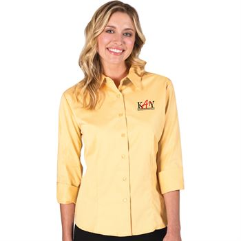 Blue Generation® Peach Twill Women's 3/4 Sleeve Woven Shirt - Personalization Available