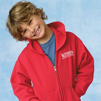 Hanes® Ecosmart Youth Full-Zip Hooded Sweatshirt - Personalization Available