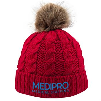 Cable Knit Beanie With Faux Fur Pom - Personalization Available