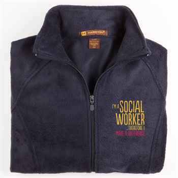 I'm A Social Worker... Therefore I Make A Difference Harriton® Women's Full-Zip Fleece Jacket - Personalization Available