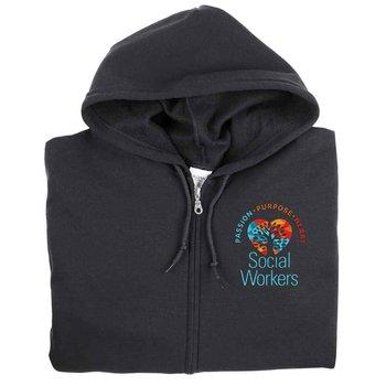 Social Workers: Passion, Purpose, Heart Gildan® Heavy Blend™ Men's 8-Oz. 50/50 Full-Zip Hooded Sweatshirt - Personalization Available