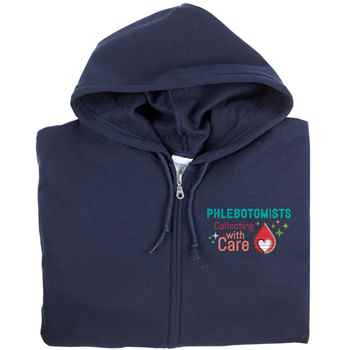 Phlebotomists: Collecting With Care Gildan® Full-Zip Hooded Sweartshirt - Personalization Available