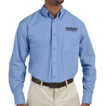 Harriton® Men's Essential Poplin Long-Sleeve Shirt - Personalization Available