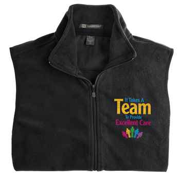 It Takes A Team To Provide Excellent Care Harriton® Full-Zip Fleece Vest - Personalization Available
