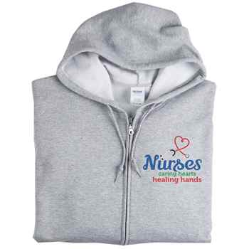 Nurse: Caring Hearts, Healing Hands Gildan® Full-Zip Hooded Sweatshirt - Personalization Available