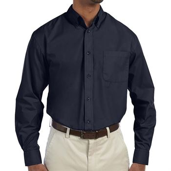 Harriton Men's Essential Poplin Long-Sleeve Shirt - Personalization Available