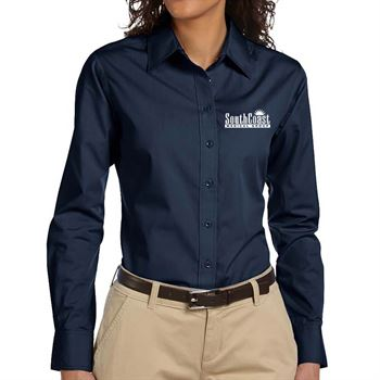 Harriton® Women's Essential Poplin Long-Sleeve Shirt - Embroidered Personalization Available