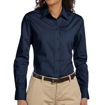Harriton Ladies' Essential Poplin Long-Sleeve Shirt - Personalization Available