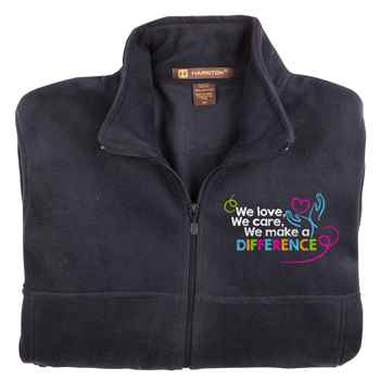 We Love, We Care, We Make A Difference Harriton® Full-Zip Fleece Jacket - Personalization Available
