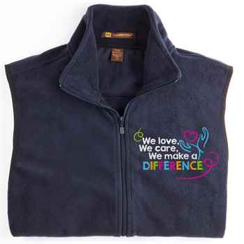 We Love, We Care, We Make A Difference Harriton® Full-Zip Fleece Vest - Personalization Available