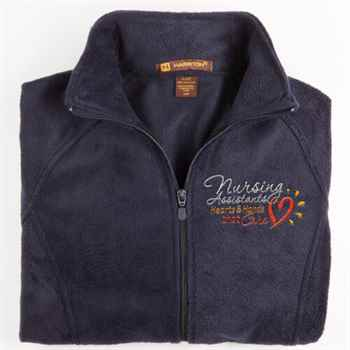 Nursing Assistants: Hearts & Hands That Care Harriton ® Fleece Full-Zip Women's Jacket - Personalization Available