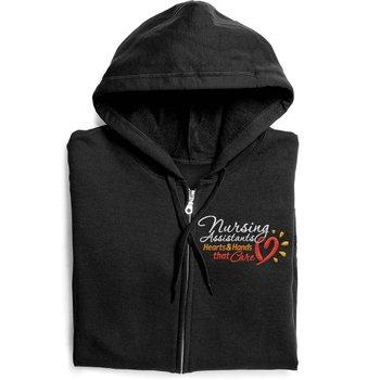 Nursing Assistants: Hearts & Hands That Care Gildan® Full-Zip Women's Hooded Sweatshirt - Personalization Optional