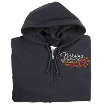 Nursing Assistants: Hearts & Hands That Care Gildan® Full-Zip Men's Hooded Sweatshirt - Personalization Available
