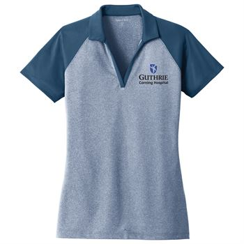 Sport-Tek® PosiCharge® Women's RacerMesh® Raglan Heather Block Polo - Personalization Available