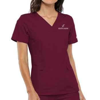 Cherokee® Women's Flexibles V-Neck Knit Panel Scrub Top - Personalization Available