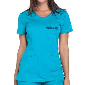 Dickies® Women's Dynamix Rounded V-Neck Scrub Top - Embroidery Personalization Available