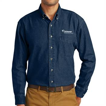 Port & Company® Men's Long Sleeve Value Denim Shirt - Personalization Available
