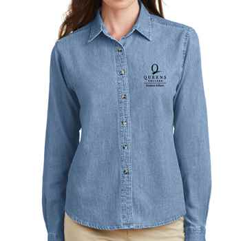 Port & Company® Ladies Long Sleeve Value Denim Shirt - Personalization Available