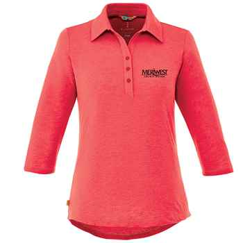 Elevate® Women's Tipton 3/4 Sleeve Heathered Polo Shirt - Heat Transfer Personalization Available