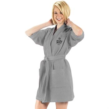 Thigh Length Waffle Weave Kimono Bath Robe