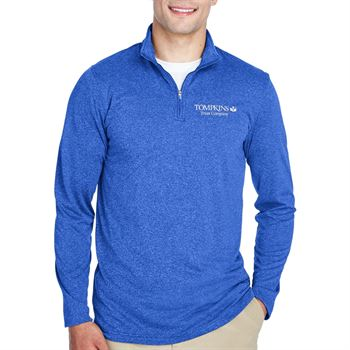 UltraClub Cool & Dry Heathered Performance Quarter-Zip
