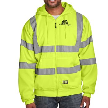 Berne Men's Hi-Vis Class 3 Lined Full-Zip Hooded Sweatshirt - Personalization Available