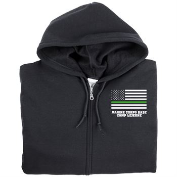 Thin Green Line Full-Zip Hooded Sweatshirt - Personalization Available