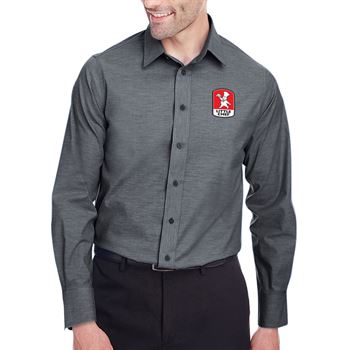 Devon & Jones® Crown Collection™ Stretch Pinpoint Chambray Shirt - Personalization Available