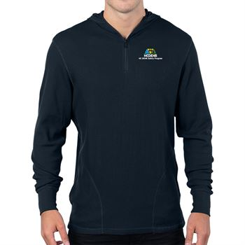 Tri-Mountain® Men's Quarter-Zip Hooded Thermal Sweater - Personalization Available