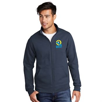 Port & Company® Unisex Core Fleece Cadet Collar Full-Zip Sweatshirt- Embroidered Personalization Available