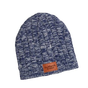 Knit Beanie With Leather Tag - Personalization Available