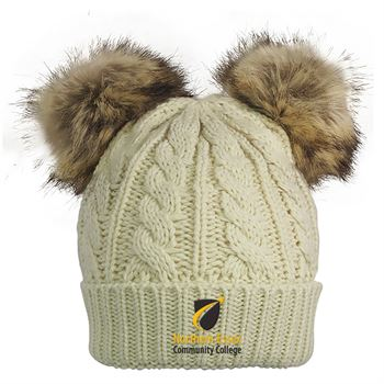 Cable Knit Beanie With Fur Pom Ears - Personalization Available