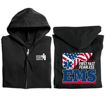 EMS: First. Fast. Fearless. Gildan� Heavy Blend� Full-Zip Hooded Sweatshirt With Optional Personalization