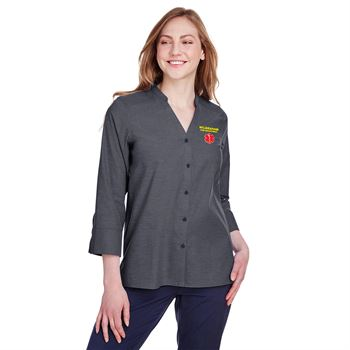Fashion + Function Collection Pinpoint Chambray 3/4 Sleeve Stretch Blouse