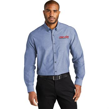 Men's Long-Sleeve Chambray Easy Care Shirt - Embroidered Personalization Available