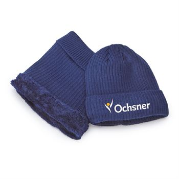 Knitted Beanie And Neck Warmer Set - Embroidered Personalization Available