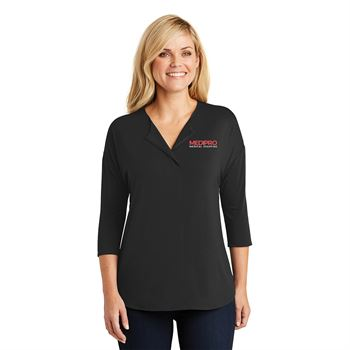 Women's Contemporary 3/4-Sleeve Soft Split Neck Top - Embroidered Personalization Available