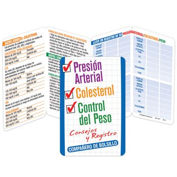 Blood Pressure, Cholesterol & Weight Control Recorder Pocket Pal (Spanish) - Personalization Available