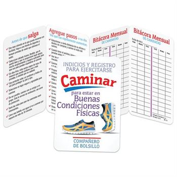 Walking for Fitness Exercising Tips & Recorder Pocket Pal (Spanish) - Personalization Available