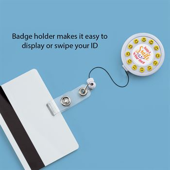 Keep A Smile In Your Voice Spinning Smiley Badge Holder