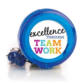 Excellence Through Teamwork 4-Color Retractable Badge Holder