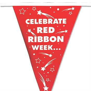 Celebrate Red Ribbon Week/Be Drug Free! 60' Red & White Stringed Pennants