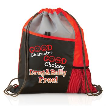 Good Character, Good Choices: Drug And Bully Free! Red Ribbon Sports Drawstring Backpack