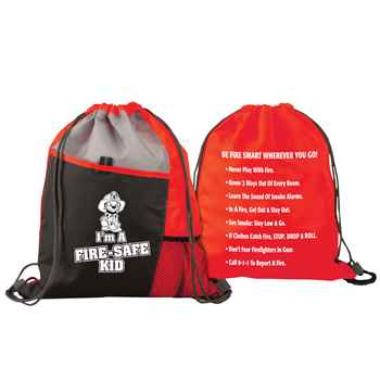 I'm A Fire Safe Kid Deluxe Drawstring Backpack With Fire Safety Tips