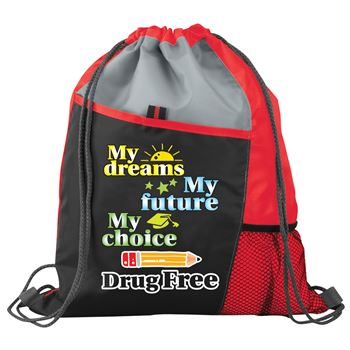 My Dreams, My Future, My Choice, Drug Free Drawstring Backpack