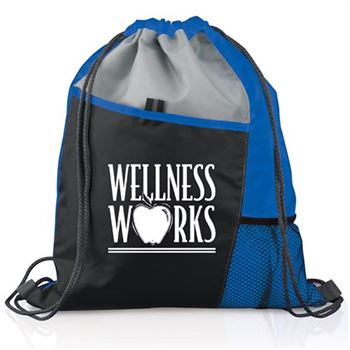 Blue Sport Drawstring Mesh Backpack - Personalization Available