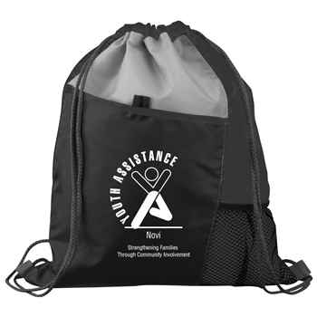 Sport Drawstring Mesh Backpack (Black) - Personalization Available