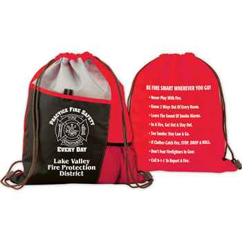 Practice Fire Safety Every Day Deluxe Drawstring Backpack With Personalization & FIre Safety Tips