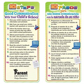 10 Steps For Good Communication With Your Child's School 2-Sided Bilingual Glancer - Personalization Available